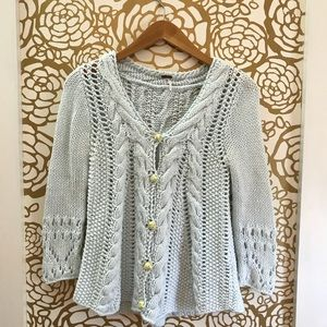 Free People Chunky Knit Cardigan Sweater Button Up